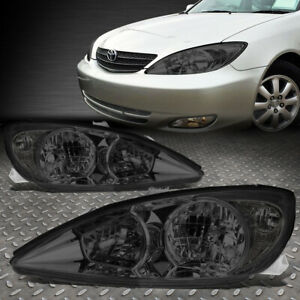For 02 04 Toyota Camry Smoked Housing Clear Corner Headlight Replacement Lamps