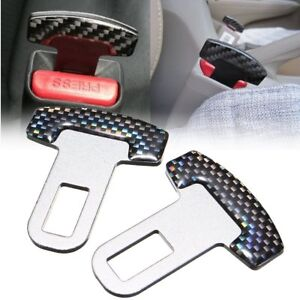 Pair Universal Carbon Fiber Car Safty Seat Belt Buckle Alarm Stopper Clip Clamp