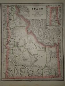 Vintage 1888 Idaho Territory Map Authentic Old Antique Original Atlas Map 93017