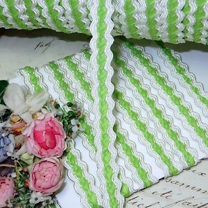 1y 5 8 Vtg French Lime White Jacquard Ribbon Trim Doll Dress French Hat Green