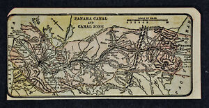 C 1910 Miniature Diary Map Panama Canal Zone Cristobal Colon Balboa City
