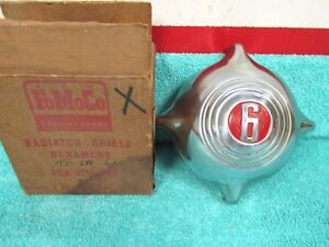 1949 50 Ford Passenger Car 6 Radiator Grill Ornament Nos Ford In Box 1017