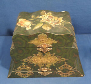Antique Victorian Two Tier Ladies Celluloid Dresser Box Cuff Collar Jewelry Hat
