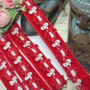 1y Vtg 1 2 French Red White Velvet Rococo Rosette Ribbonwork Trim Ribbon Antq