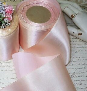 1y Baby Pink French Matte Luxury Satin Ombre Ribbon Trim Vtg Antq Jacquard Roco