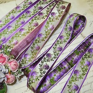 1y Vtg Antq French Woven Jacquard Violet Mauve Ombre Roses Ribbon Trim Cottage