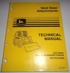 John Deere Skid Steer Loader Attachments Technical Manual Backhoe Tiller Trenchr