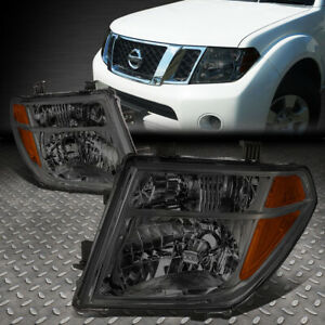 For 05 08 Nissan Frontier Pathfinder Smoked Housing Amber Corner Headlight Lamps
