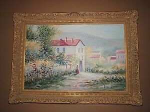 Huge Brian G Hanson Impressionist Painting And Fabulous Wood Carved Framed