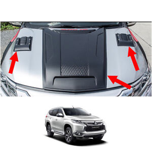 Bonnet Hood Scoop Vent Cover Trim For Mitsubishi Pajero Montero Sport 2016 17