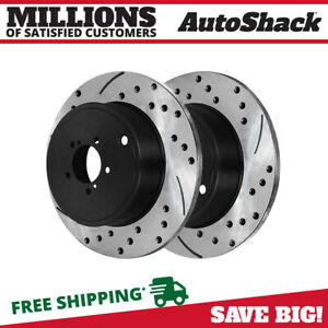 Rear Drilled Slotted Brake Rotors Pair 2 Fits 10 13 2014 Subaru Outback 980634