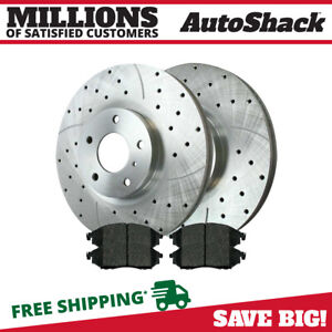 Front Drilled And Slotted Brake Rotors Ceramic Pads For 2013 2014 Nissan Murano