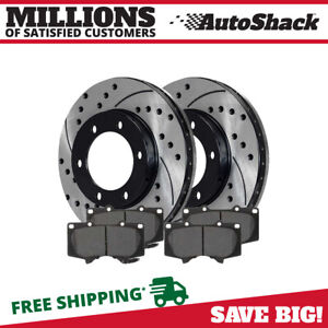 Front Drilled And Slotted Brake Rotors Metallic Pads For 2004 2006 Toyota Tundra