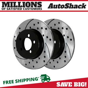 Rear Drilled Slotted Brake Rotor Pair For 2002 2007 2008 2009 2010 Ford Explorer