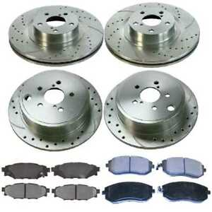 Front Rear 4 Drilled Slotted Rotors 8 Ceramic Pad For 10 2012 Subaru Outback