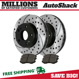 Front 2 Drilled Slotted Rotors 4 Metallic Brake Pads Fits 2012 2013 Kia Soul
