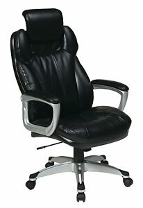 Office Star Executive Eco Leather Chair With Padded Arms Adjustable Headrest
