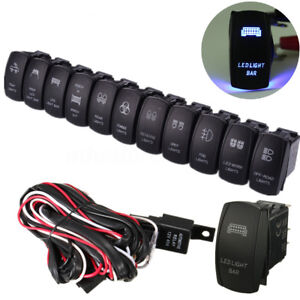 Led Light Bar Fog Spot On Off Laser Rocker Switch Relay Wiring Harness Loom Kit
