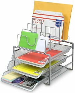 Decobros Stackable Mesh Desk Convertiable Organizer 3 Letter Trays And 5 Upright