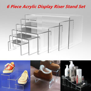 6pcs Clear Acrylic Perspex Display Jewellery Riser Set Stand Showcase 4 5mm