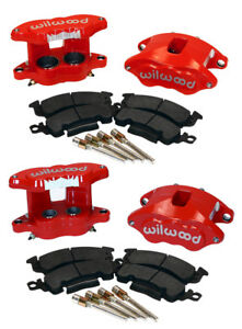 Wilwood D52 Front Rear Red Brake Caliper pad Set W pins 1 28 big Gm Calipers