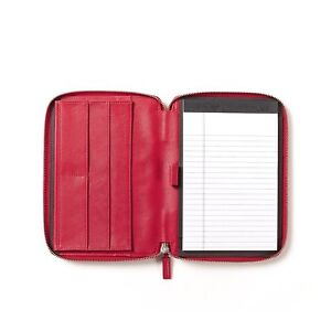 Leatherology Junior Zippered Portfolio With Pen Loop Full Grain Leather Red