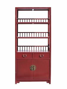 Chinese Distressed Matte Red 3 Shelves Bookcase Display Cabinet Cs3440