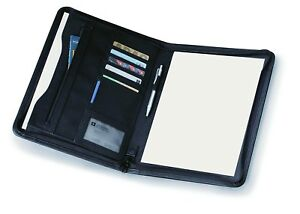 Ebuygb Black Leather Look A4 Zipped Conference Folder Executive Portfolio