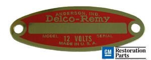 1953 1960 Oldsmobile 88 98 Delco Remy Red 12 Volt Generator Starter Tag