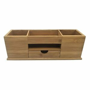 Bamboo Storage Desktop Box Office Paperclips Business Cards Pens Organizer With