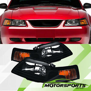 1999 2004 Ford Mustang Factory Style Black Headlights Pair 2000 2001 2002 2003