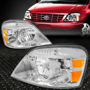 For 2004 2007 Ford Freestar mercury Monterey Pair Chrome Amber Headlight lamp