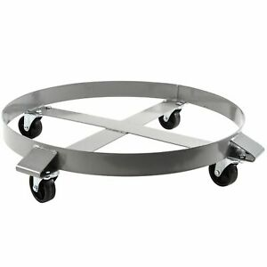 1 000 Lb Drum Dolly For 55 Gal Swivel Casters Steel Frame Non Tipping Heavy Duty