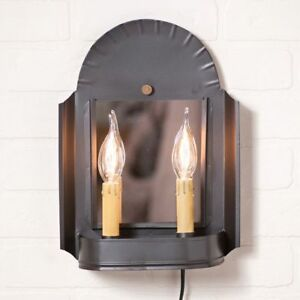 Country New Smokey Black Tin Double Inn Keeper Plug In Wall Sconce Light