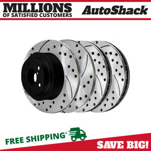Front Rear Drilled Slotted Brake Rotors For 2003 2007 2008 Subaru Forester
