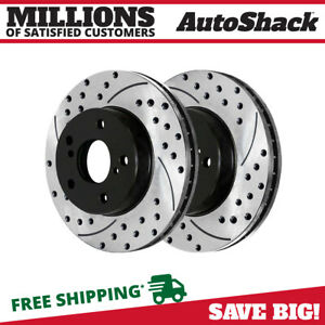 Front Drilled Slotted Brake Rotor Pair For 2001 2005 Outback 2003 2008 Forester