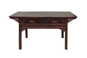 Chinese Vintage Rustic Brown Lacquer Drawers Coffer Altar Table Cs3474