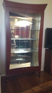 Pair Of Large Lighted Glass And Wood Display Cases Case 7 Feet Plus Very Nice