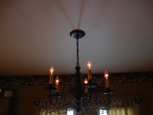 Country New 5 Arm American Black Wood Chandelier Free Shipping