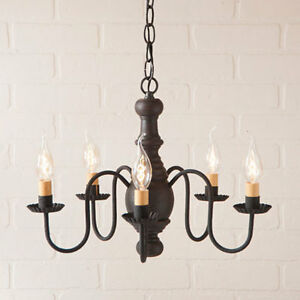 Country New Lancaster 5 Arm Wood Chandelier W American Black Finish Free Ship
