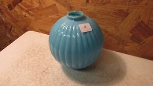 Antique Round Pleated Blue Milk Glass Lightning Rod Ball No 8