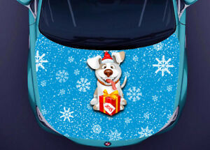 Dogs Christmas Full Color Sticker Car Hood Vinyl Graphics Decal Wrap Pn296