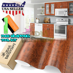 12 x48 Wood Grain Vinyl Wrap Sticker Car Home Kitchen Desk Decoration 1303