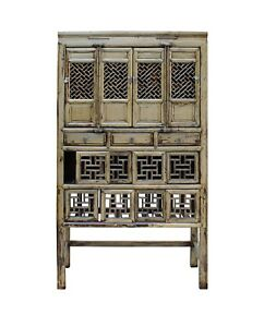 Chinese Distressed Light Green Lacquer Storage Open Panel Doors Cabinet Cs3491
