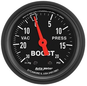 Auto Meter 2601 Universal Black 2 1 16 Boost Vacuum 30 In 20 Psi Gauge