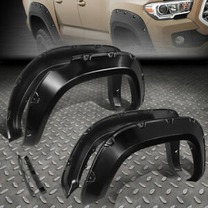 For 2016 2017 Toyota Tacoma 4pcs Pocket Riveted Style Wheel Fender Flares Black