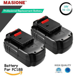 2 New 18v Battery Pack For Porter Cable Pc18b 18 volt Nicd Cordless Tool