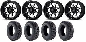 Set Of 4 Nitto 217 290 Tires Moto Metal Mo97029035300 Gloss Black Rims