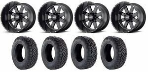 Set Of 4 Nitto 217 290 Tires Moto Metal Mo96229068300 Gloss Black Rims