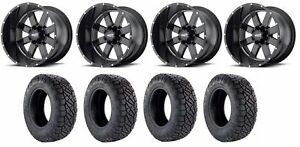 Set Of 4 Nitto 217 290 Tires Moto Metal Mo96229063300 Gloss Black Rims